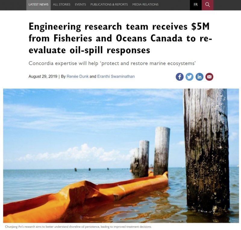 The research about oil spill is featured by Concordia University