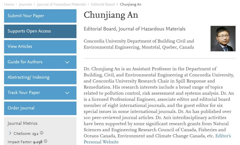 Dr. An joins the Editorial Board of Journal of Hazardous Materials